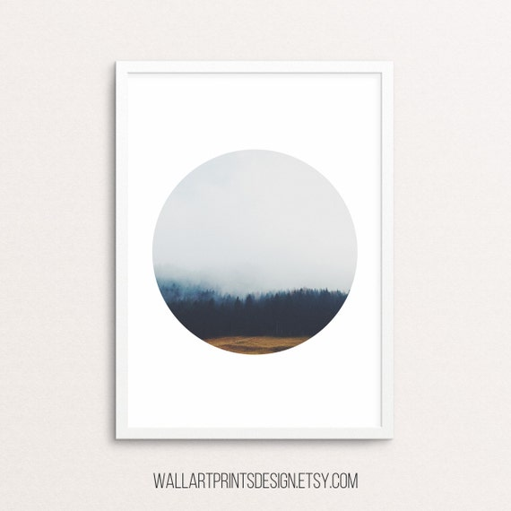 Forest print, forest printable art, forest photography, tree prints, foggy forest, forest wall print, nature art, sky print, digital print