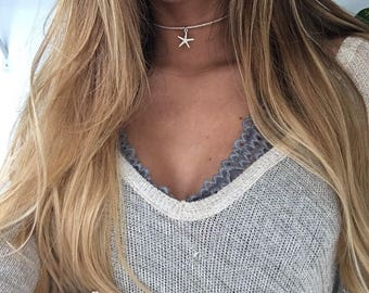 White Beaded Silver Starfish Choker Necklace
