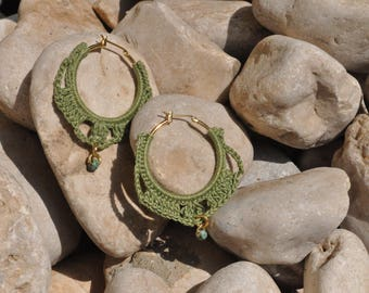 Made to order,Crocheted hoop with grean thread and a green bead,textile earrings,crochet hoop earrings, green hoop earrings, beaded earrings