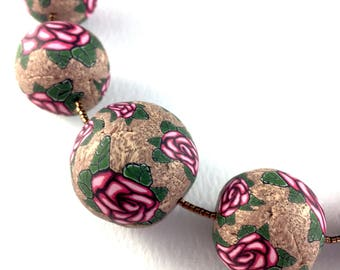 Handcrafted polymer clay long necklace- taupe and green with pink roses