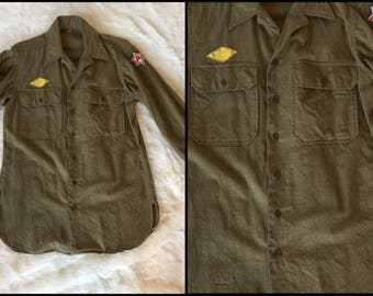 1970's Green Patched Military Button Down Shirt
