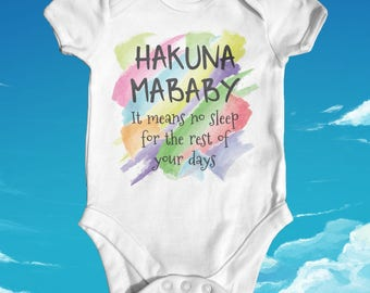 Hakuna Mababy Baby Bodysuit | Baby Shower Gift | Cute Baby Clothes | Funny Baby Bodysuit | Newborn Baby Clothes | Slogan Baby Bodysuit