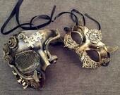 Couple Masquerade Mask Steampunk Geared bronze Brass Gold Studs Detail