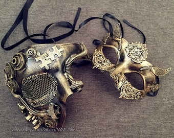 Couple Masquerade Mask Steampunk Geared bronze Brass Gold Studs Detail