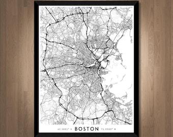 Every Road in Boston map art | Printable Boston map print, Boston print, Boston poster, Boston art, Boston wall art, Massachusetts map gift
