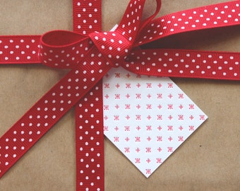 SALE to make way for new stock: 10 x Red Letterpress Snowflake Gift Tags