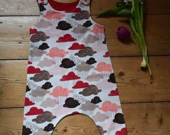 Handmade cloud print jersey dungaree romper 6-9m