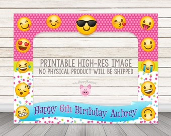 "PRINTABLE Emoji birthday party photo booth frame 32"" x 42"" OR custom size Emoji Party photo booth prop frame Birthday Photobooth props favor"