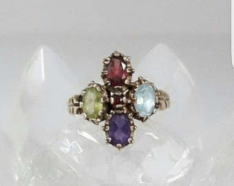 Victorian ring gold plated size with 4 gems US size 7