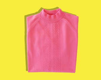 Vintage 70s Barbie Pink Top • Long Raglan Sleeves Mock Turtleneck Knit Top • Retro Librarian • M Medium L Large • Made in Great Britain