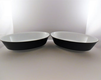 "Noritake Mirano 9"" Oval Serving Bowls ~ Noritake Mirano 6878 Oval Serving Bowls ~ Noritake Mirano Serving Bowls White with Black Band"
