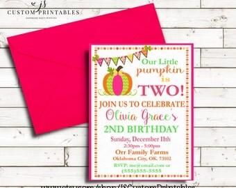 Pumpkin Patch Birthday Invitation; Printable Invitation; Pumpkin Patch Birthday Party; Digital File; DIY; First Birthday; Pink and Orange