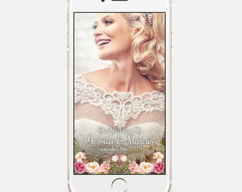 LIMITED TIME! Wedding Geofilter, Snapchat Geofilter, Snapchat Filter, Custom Geofilter, Floral Wedding Snapchat Filter, wed52