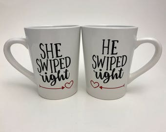 Valentine's Day - Tinder Mugs for Couples - He Swiped Right - She Swiped Right - Tinder - Fun tinder glasses