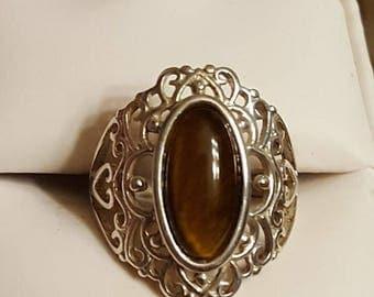 Vintage Sterling Silver Tiger's Eye Ring Size 7
