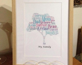 A4 Personalised Word Art Family Tree Print (UK ONLY)/Download