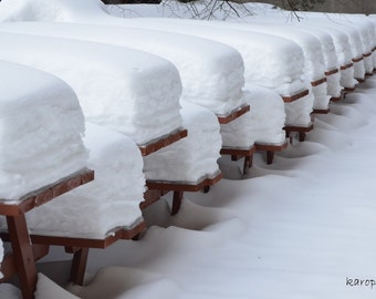 Photography snowy winter picnic tables snow 300 dpi