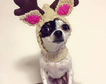 Tuque for dog Christmas costume reindeer, dog for small hat, knitting