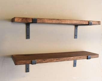 "10"" Depth Fixer Upper Farmhouse Floating Shelf, Flat Steel Handmade Industrial Rustic Shelve, Modern Blacksmith Farmhouse Shelves"