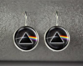 Pink Floyd earrings, Pink Floyd jewelry, dark side of the moon