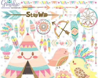 75%OFF - Tribal Clipart, Tribal Graphic, COMMERCIAL USE, Kawaii Clipart, Boho Clipart, Boho Graphics, Planner Accessories, Dreamcatcher