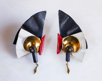 Vintage 80s Red Black & White Leather Earrings