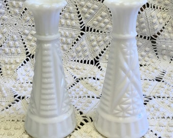 Pair of 6 inch Milk Glass Bud Vases