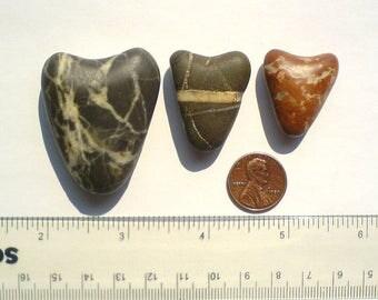 3 Unique rare genuine sea beach stone pebble rock. 3 Hearts