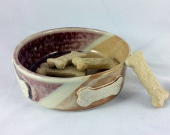 Pottery dog bowl, food bowl, water bowl, pet food bowl, food dish, pet dish