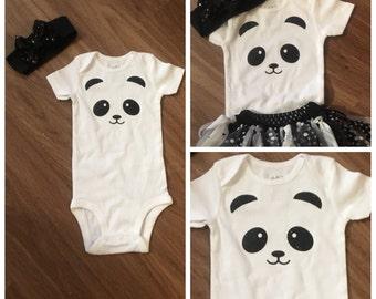 Cute Panda onesie!! - Custom Made - Free Personalization - glitter panda - babies love pandas!