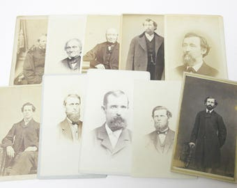 Original Antique Photographs Portraits of Men Old and Young