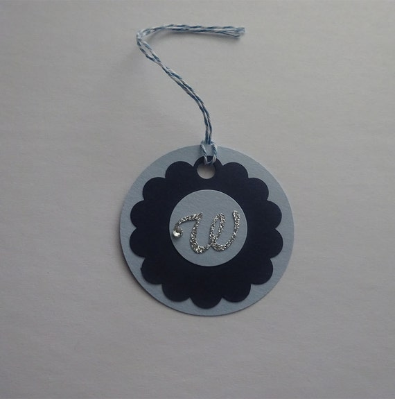 Handmade Personalized Circle Gift Tags - Light Blue & Navy Blue Circle Tag with Initial Letter - 2J