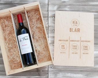 Wedding Wine Box | Personalized Wine Box | Engraved Wine Box | Custom Wine Box | Wedding Shower | Wedding Gift | Anniversary Gift