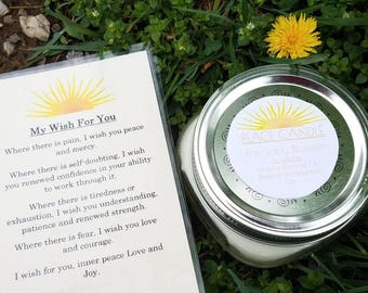 Peace Organic Coconut Oil Candle and Poem, All Natural, Nontoxic, Paraffin, Petroleum, Chemical and Dye Free, 8oz Mason Jar, Wish Candle