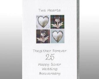 Silver Wedding Twa Hearts Card WWWE38