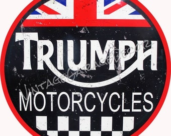 "Vintage Style "" Triumph Motorcycles "" with British Colors Round Metal Sign (Rusted)"