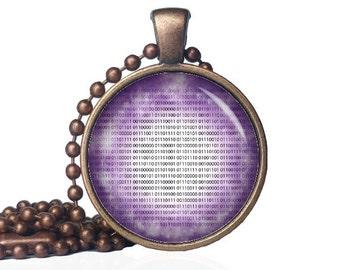 Binary Necklace - Binary Code Necklace - Geek Gift - Nerd Gift - Geek Necklace - Geek Pendant