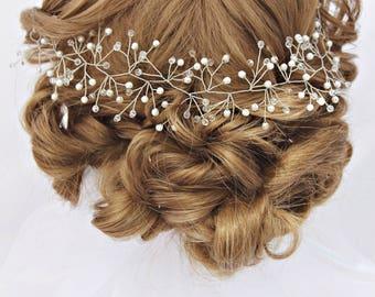 Wedding hair vine bridal crystal wreath crystal twigs bridal headband wedding pearl vine crystal garland headpiece baby breath