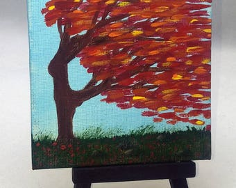Fiery Wind Dancer - Dancing Autumn Tree Small Art Painting with Desktop Easel, 4 x 4 inch