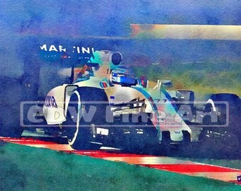 Valteri Bottas Willams F1 Racing Car - Limited Edition Art Print of my Original Water Colour Painting