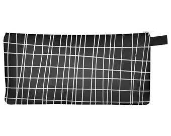 Grid Pencil Case, mens toiletry bag, geometric pencil case, art pencil case, black pencil case, small womens wallet, black zipper pencil bag