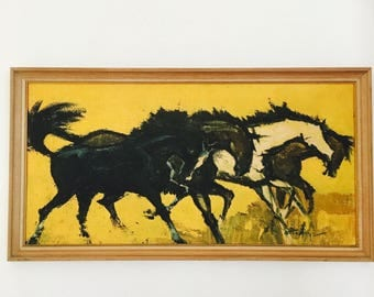 Vintage Print Mid Century Magnificent Horses Yellow Large