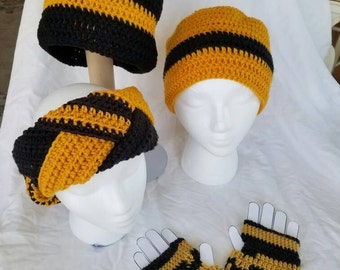 Team spirit.  MU. Mizzou hats, ear warmers, fingerless gloves