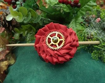Red Steam Flowery Barrette