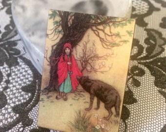 Handmade wooden brooch, Little Red Riding Hood, Fairy Tale Brooch, Women's Jewellery, Accessories, Birthday Gift
