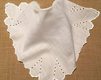 Vintage White Eyelet Handkerchief, Cut Work Handkerchief, Wedding Handkerchief, Shabby Chic, Bridal Handkerchief