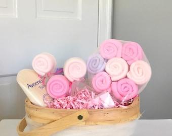 Pink Lollipop Girl Baby Shower Gift Basket Centerpiece Decoration