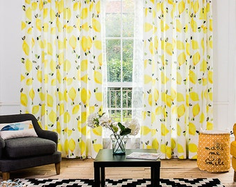 Window Curtain with Happy Lemon