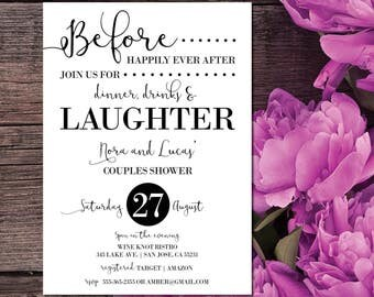 Couples Shower Invitation | Couple Shower Invite | Before Happily Ever After | Dinner, Drinks and Laughter | Elegant Couple Shower Invites