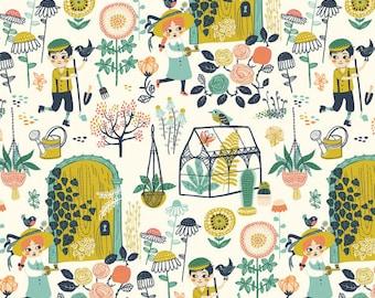 1/2 Yard Organic Cotton Knit,Hidden Garden Main Knit ,Organic Knit Fabric,BIRCH ORGANICS